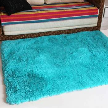 Голубой прикроватный коврик с высоким ворсом JumKids Sweet Blue
